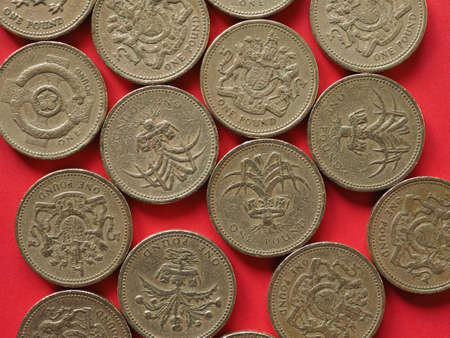 Pound coins money (GBP), currency of United Kingdom - One Pound coin