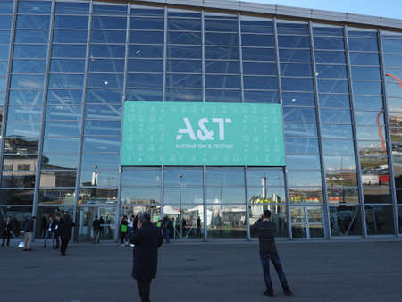 TURIN, ITALY - CIRCA FEBRUARY 2020: A&T (Automation and Testing) innovation, technology and skills fair