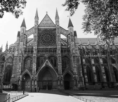 LONDON, UK - CIRCA SEPTEMBER 2019: Westminster Abbey anglican church in black and white