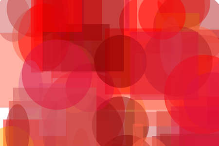 Abstract minimalist red orange illustration with circle and ellipses squares and rectangles useful as a background