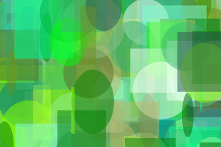 Abstract minimalist green illustration with circle and ellipses squares and rectangles useful as a background