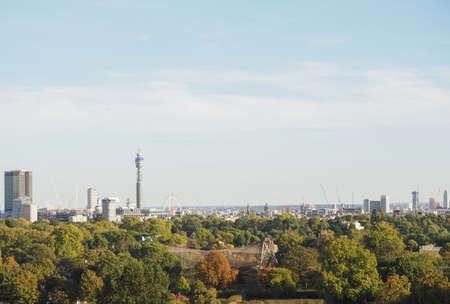 LONDON, UK - CIRCA SEPTEMBER 2019: View of London skyline from Primrose Hill north of Regent's Park