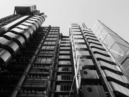 LONDON, UK - CIRCA SEPTEMBER 2019: Lloyd of London high tech skyscraper designed by architect Richard Rogers in black and white