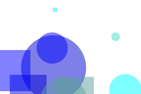Abstract minimalist red blue illustration with circles squares useful as a background