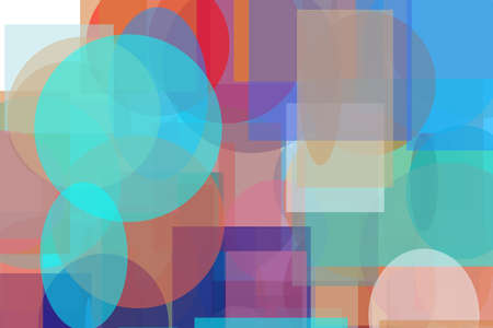 Abstract minimalist red blue brown orange illustration with circle and ellipses squares and rectangles useful as a background