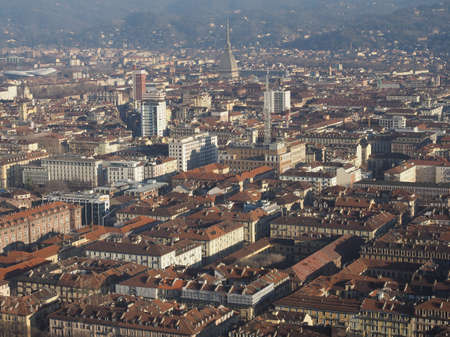 Aerial view of the city of Turin, Italy with Piazza Castello square