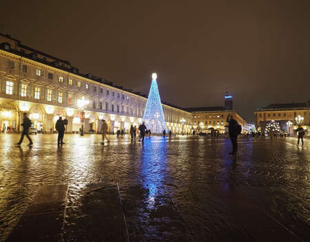 TURIN, ITALY - CIRCA DECEMBER 2019: Night view of Piazza San Carlo square
