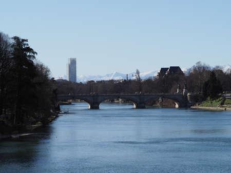 TURIN, ITALY - CIRCA FEBRUARY 2020: Fiume Po meaning River Po Standard-Bild