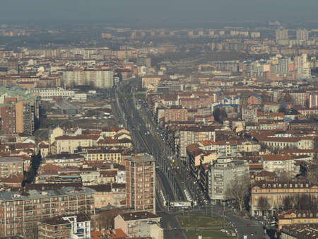 Aerial view of the city of Turin, Italy looking towards Piazza Statuto square