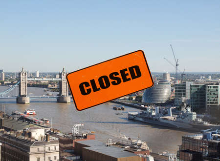 Aerial view of London with closed sign Stock Photo