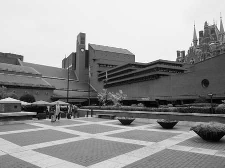 LONDON, UK - CIRCA SEPTEMBER 2019: The British Library, national library of the United Kingdom in black and white