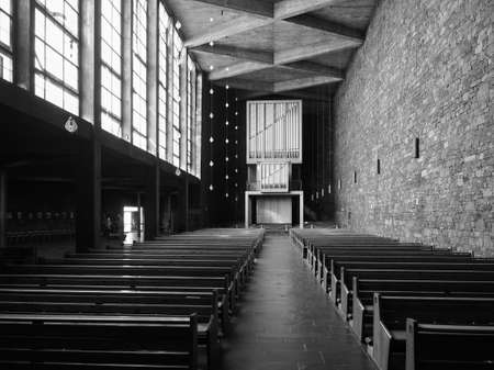 DUEREN, GERMANY - CIRCA AUGUST 2019: Annakirche (meaning St Anne church) in black and white Editorial