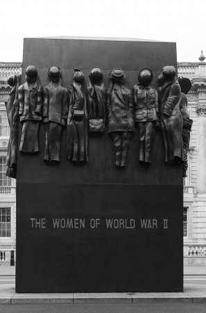LONDON, UK - CIRCA SEPTEMBER 2019: Monument to the Women of World War II in black and white