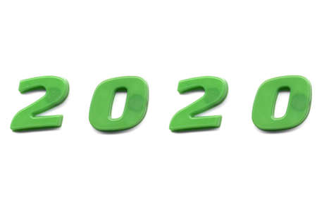 Year 2020 label written with magnetic letters