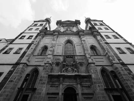 Namen Jesu Kirche (meaning Church of the Name of Jesus) old catholic parish church in Bonn, Germany in black and white