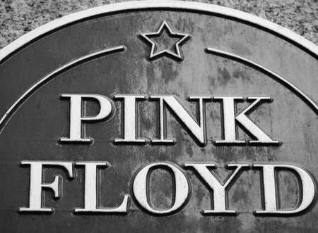 LONDON, UK - CIRCA SEPTEMBER 2019: Pink Floyd plaque at Regent Street Polytechnic where they studied and formed the band in black and white