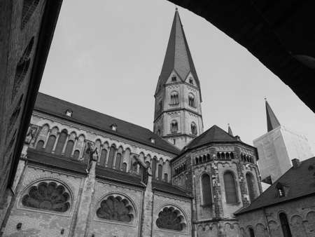 Bonner Muenster (meaning Bonn Minster) basilica church in Bonn, Germany in black and white