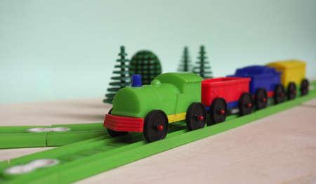 plastic scale model toy train and railway, selective focus Фото со стока