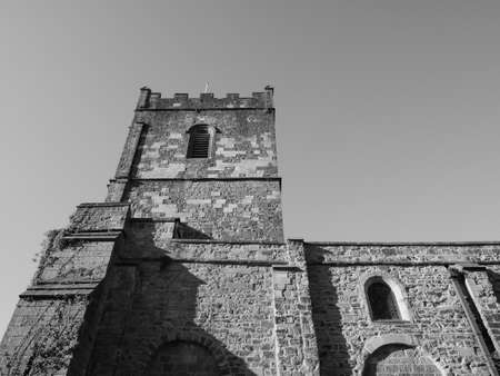 Parish and Priory Church of St Mary in Chepstow, UK in black and white