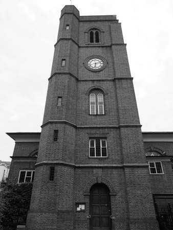 Chelsea Old Church aka All Saints in London, UK in black and white