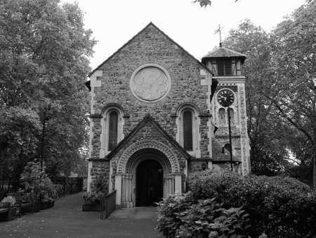 St Pancras Old Church in London, UK in black and white