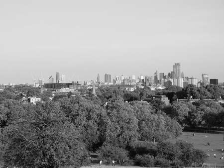 View of London skyline from Primrose Hill north of Regent's Park in London, UK in black and white