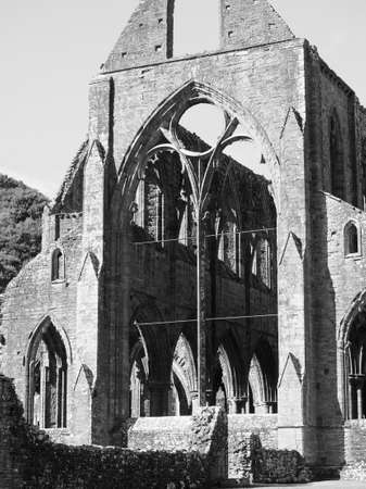 Tintern Abbey (Abaty Tyndyrn in Welsh) ruins in black and white