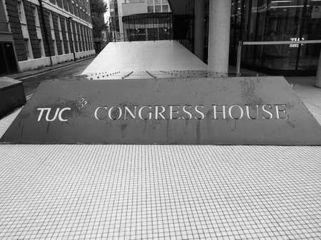 LONDON, UK - CIRCA SEPTEMBER 2019: Trades Union Congress House in black and white