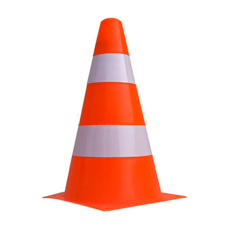white and orange traffic cone to mark road works isolated over white background