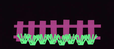 illustration of a fence with grass made with paper strips