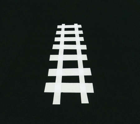 illustration of railway tracks railroad perspective made with paper strips
