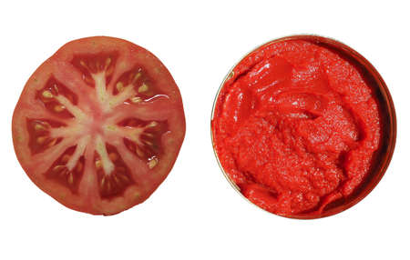 sliced tomato and tomato sauce isolated over white