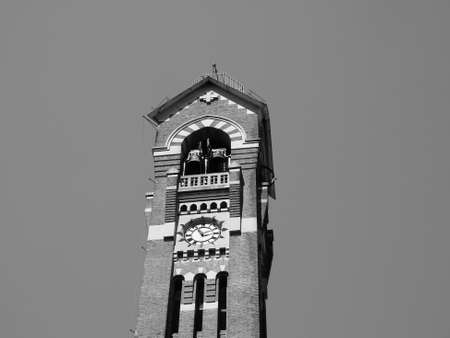 Steeple of Chiesa di San Giuseppe church in Turin, Italy in black and white