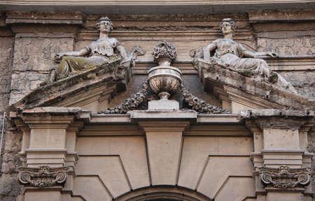pediment: Pediment with statues of Villa Angelina, ancient Vesuvian villa