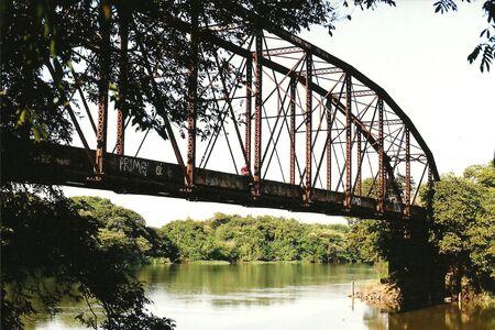 Metal bridge over river