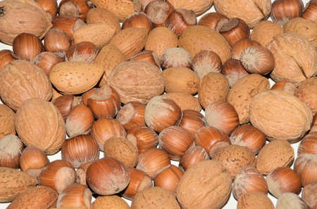 noix: Selection of Mixed Nuts in Shell on white background Stock Photo