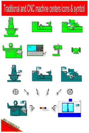 Traditional and CNC machine centers - simbol   icons Stock Vector - 24092711