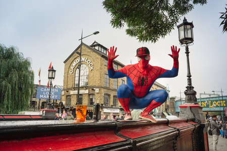 spider man: LONDON UK - October 2013 Camden Town, as masked by amazing spider man