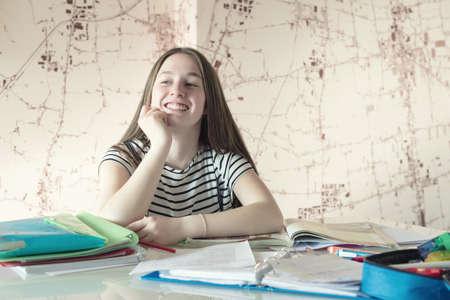 doing: Girl doing homework