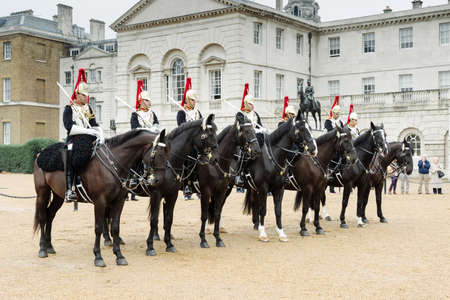 life guard: London, United Kingdom - October 2, 2013: The Queens Life Guard or Horse Guard participate on in the changing ceremony in London