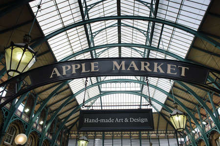 covent: LONDON, ENGLAND October 1, 2013: sign apple market in Covent Garden, London