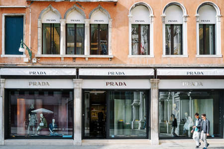 prada: Venice, Italy - April 13, 2016: Prada store in Venice. Prada is a famous Italian company active in the fashion and luxury goods sectors