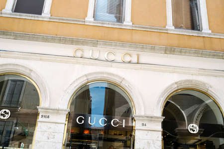 gucci store: Venice, Italy - April 13, 2016: Gucci store in Venice. Gucci is a famous Italian company active in the fashion and luxury goods sectors Editorial