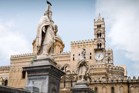 characterized: Metropolitan Cathedral of the Assumption of Virgin Mary. Palermo Cathedral is the cathedral church of the Roman Catholic Archdiocese of Palermo, located in Palermo, Sicily, southern Italy. As an architectural complex, it is characterized by the presence o Stock Photo