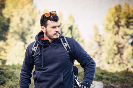 downhill: cyclist Practicing downhill bike