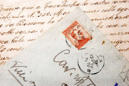 postage: envelope and old postage stamp