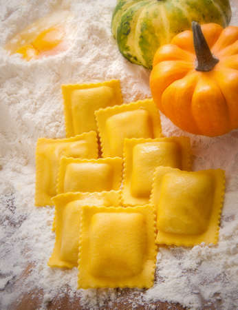 Homemade ravioli Stock Photo