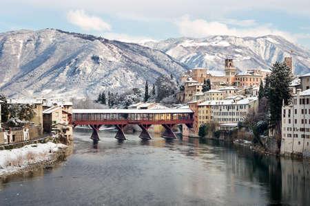 grappa: Old Bridge with snow, Bassano del Grappa Italy