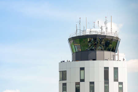 airpower: Zeltweg, Styria, Austria - September 3, 2016: airport control tower in Zeltweg, international event AIRPOWER16 Editorial