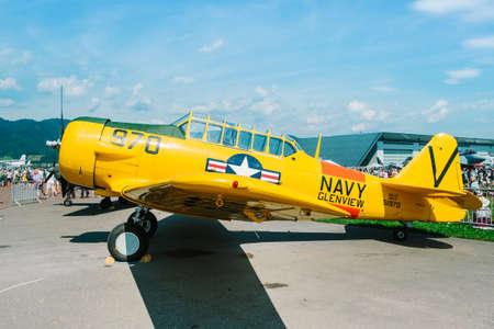 airpower: Zeltweg, Styria, Austria - September 3, 2016: training plane North American T-6 at international event AIRPOWER16